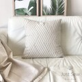 Lineal Embroidered Linen Cushion