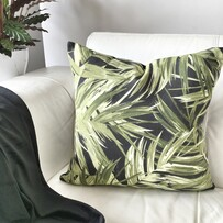 Tropical Leaf Black Cushion